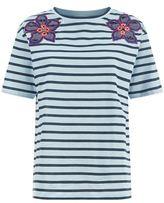 Sandro Hawai Floral Appliqué T-Shirt
