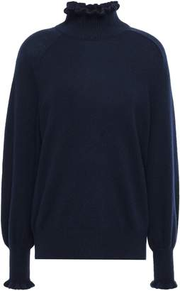 Rebecca Taylor Cozu Ruffle-trimmed Wool-blend Turtleneck Sweater