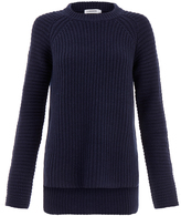 J. Lindeberg Dark Navy Meline Half Cardigan Solid Sweater