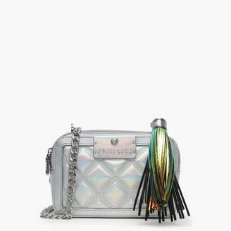 GUESS Joli Holographic Silver Leather Quilted Camera Bag