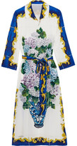 Dolce & Gabbana Printed Silk Crepe De Chine Shirt Dress - Blue
