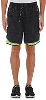 adidas x kolor ADIDAS X KOLOR MEN'S MESH-INSET NYLON RUNNING SHORTS-BLACK, GREEN, PURPLE SIZE S