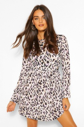 boohoo Animal Printed Woven Skater Dress