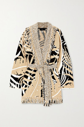 Alanui Belted Fringed Cotton And Wool-blend Jacquard Cardigan - Cream