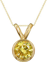 JCPenney FINE JEWELRY 1/2 CT. T.W. Color-Enhanced Yellow Diamond Solitaire Pendant Necklace