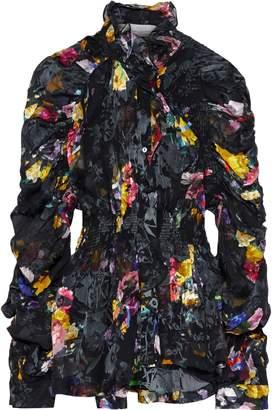 Preen by Thornton Bregazzi Sidonie Shirred Floral-print Burnout Silk-blend Blouse