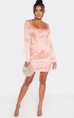 PrettyLittleThing Nude Satin Square Neck Panelled Bodycon Dress