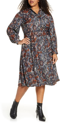 ELOQUII Snake Print Long Sleeve Midi Shirtdress