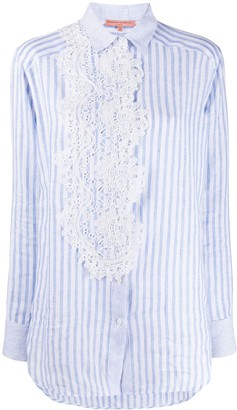 Ermanno Scervino Lace Applique Striped Shirt