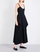 J.W.Anderson Draped wool-twill maxi dress