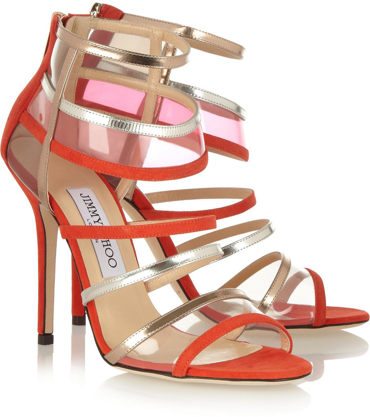 Jimmy Choo Maitai suede and Perspex sandals