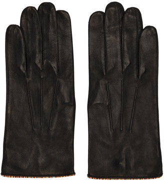 Paul Smith Black Leather Signature Stripe Piping Gloves