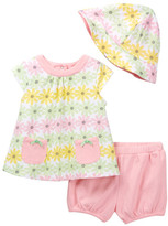 Offspring Daisy Top, Short, & Hat Set (Baby Girls)