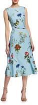 Oscar de la Renta Floral Print Day Dress