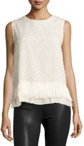 Max Studio Sleeveless Fringed-Hem Blouse, Beige