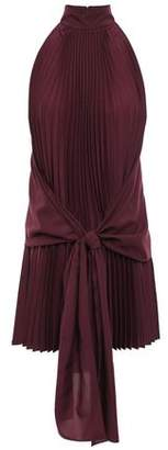 Tome Pleated Tie-front Crepe De Chine Top