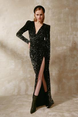 Gemy Maalouf Velvet Sequined Long Sleeve Slit Gown