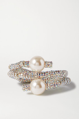 PEARL OCTOPUSS.Y - Convertible Silver Tone, Crystal And Faux Pearl Cuff - one size