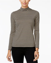 Charter Club Petite Striped Metallic Mock-Neck Top, Only at Macy's