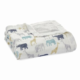 Aden Anais Expedition - elephants + giraffes silky soft dream blanket