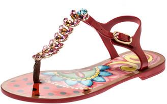 Dolce & Gabbana Multicolor Rubber Crystal Embellished Flat Thong Sandals Size 37