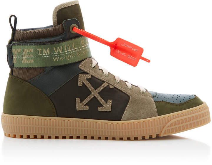 Off-White Industrial Paneled Leather And Suede High-Top Sneakers