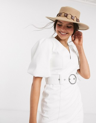 Bershka faux leather belted dress in white