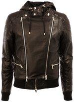 Balmain hooded biker jacket - men - Cotton/Lamb Skin - 46