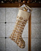 Kim Seybert Champagne Pearl Fringe Christmas Stocking