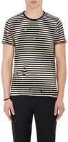 Barneys New York Men's Striped Distressed Cotton T-Shirt-BLACK