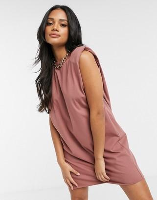 ASOS DESIGN padded shoulder sleeveless t-shirt mini dress in taupe