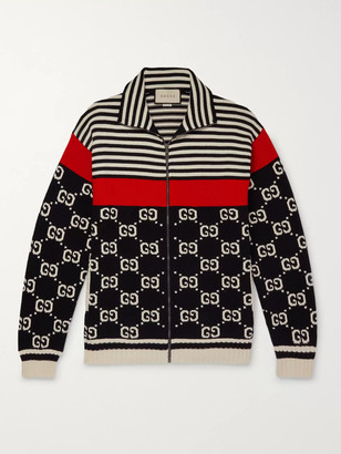 Gucci Logo-Intarsia Striped Cotton Zip-Up Sweater