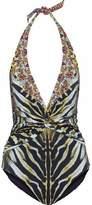 Camilla Twist-Front Embellished Printed Halterneck Swimsuit