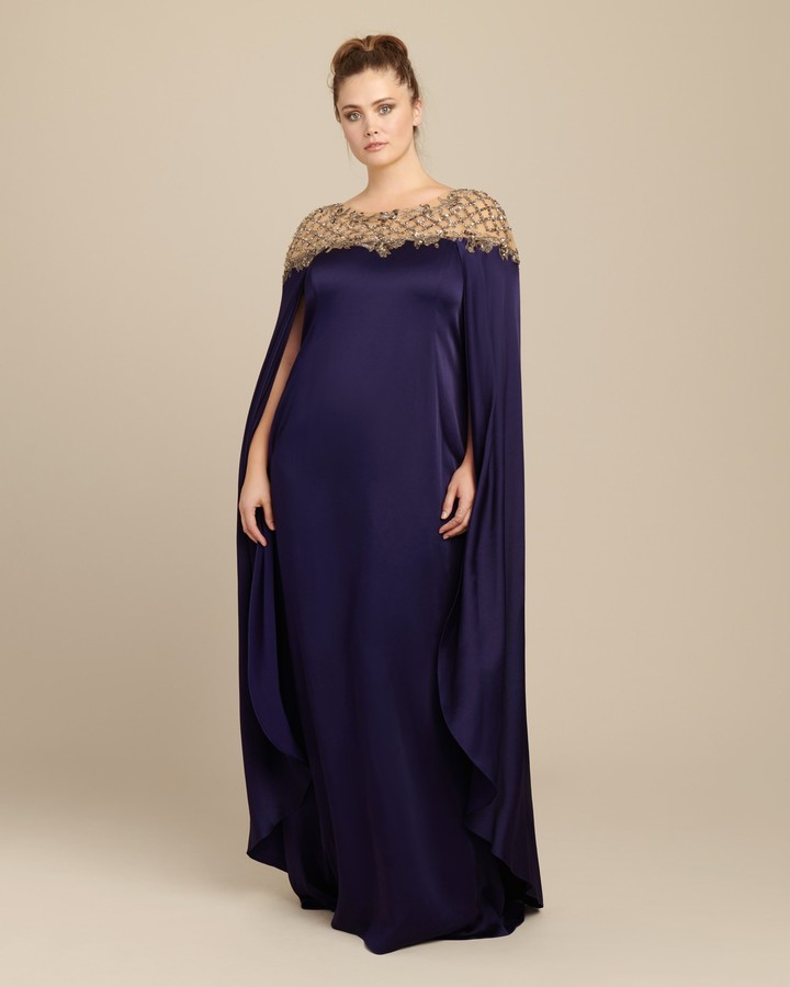 Marchesa Crepe Cape Sleeve Gown with Threadwork