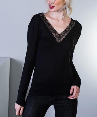 Milan Kiss Women's Blouses BLACK - Black Lace-Accent V-Neck Top - Women