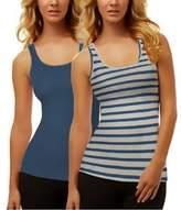 Felina Women's Fine Ribbed Knit Tank Tops (2-pack), Blue/Grey