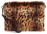 Chelsea28 Leopard Print Faux Fur Wristlet Clutch - Brown