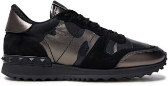 Valentino Paneled Printed Leather, Canvas And Suede Sneakers