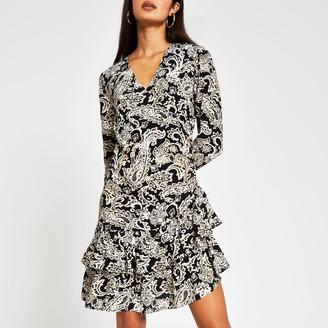 River Island Womens Black long sleeve paisley frill hem dress