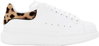 Alexander McQueen Oversized Leather Leopard-Trimmed Sneakers