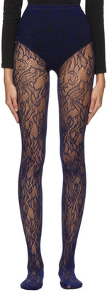 Dries Van Noten Navy Fogal Edition Lace Tights