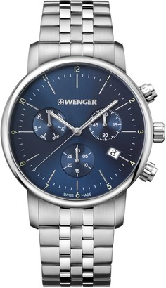 Wenger Men's Classic Swiss-Quartz Watch with Stainless-Steel Strap Silver 22 (Model: 01.1743.105)