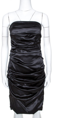Dolce & Gabbana Black Silk Strapless Gathered Dress M