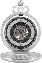 K&S KS KSP086 Men's Vintage Frosted Half Hunter Silver Case Chinese Twelve Earthly Branches Time Hand-Winding Mechanical Pocket Watch