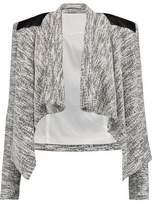 Alice + Olivia Owen Draped Leather-Paneled Bouclé Jacket
