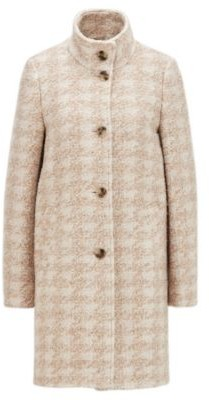 HUGO BOSS Houndstooth-pattern coat in boucle fabric