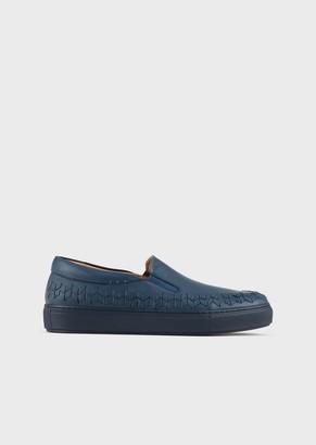 Giorgio Armani Washed, Nappa Leather Slip-Ons With Chevron Embroidery