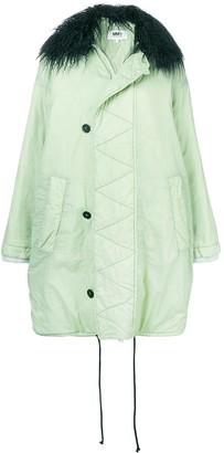 MM6 MAISON MARGIELA shearling collar oversized coat