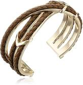 """Cole Haan Leather Items"""" Brown Chevron Metal and Braided Cuff Bracelet"""
