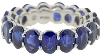 Bayco Platinum Oval Blue Sapphire Eternity Ring